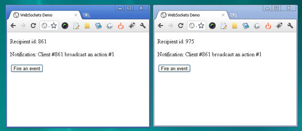 WebSocket API usage example screenshot