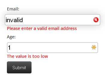 Inline validation messages on HTML5 Form